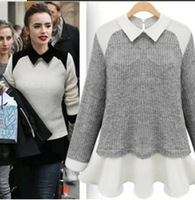 Autumn 2014 Women Fashion Chiffon Patchwork Sweater Turn-down Collar Long Sleeve Slim Knitted Pullovers Women's Sweaters 2358