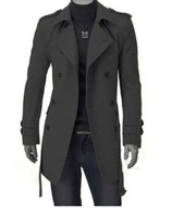 2014 fashion mens winter outerwear coat trench double breasted trench cashmere wool blends