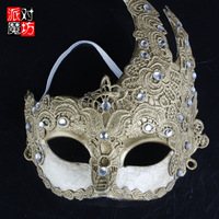 Halloween masquerade party flame embroidery mask adult Women