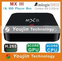 MX III Android 4.4 TV Box Quad Core Mali450 GPU 1G/8GB Media Player Player support 4K XBMC DLNA Miracast Airplay Wifi