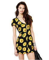 Free shipping European and American women's fashion pastoral style print V-neck waist dress