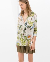 New Arrival Flowers Printed V-neck Long-sleeved Cotton Shirt Headman Good Looking XZR03