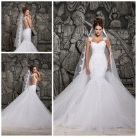 2014 Designers White Lace And See Through Mermaid Wedding Dresses With Removable Train Bridal Dresses Tulle