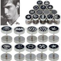 2014 8mm Men Women Girl Cool Barbell Punk Gothic Stainless Steel Ear Studs Earrings Black Silver Fashion