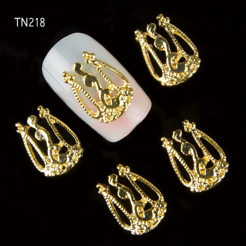 NEW 100pcs/pack Golden 3D Nail Art Charm Decorations Gold Glitter Jewelry Rhinestones for Nail Art Studs Nail Tools TN218(China (Mainland))