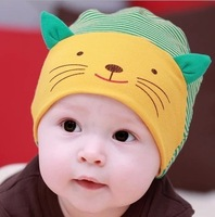 Free Shipping 5 Color In Stock Lovely Baby Cute Smile Cat Elastic Cap Hats Unisex Kid Accessories Baby Clothing set Toca