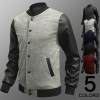 New 2014 autumn and winter splicing clothes men jackets stand collar sleeve leather jackets Korean fashion baseball jacket coat