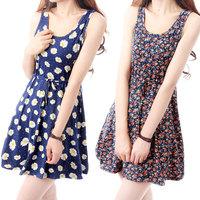 2014 summer rustic one-piece dress bohemia small fresh suspender skirt tank dress short skirt cotton