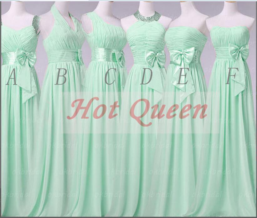Vestidos De Baño Verde Menta:Queen largo verde menta vestido de dama de 2014 arco grande piso de