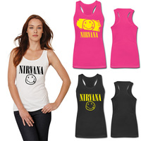 New Arrival Smiley Letter Nirvana Women Tank Tops O Neck Casual Womens Tanks Cotton WomanTops Free Shipping Wholesale