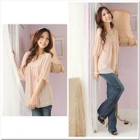 Women's crop top shirt Summer plus size shirt o-neck half sleeve chiffon shirt puff sleeve chiffon women clothing D455