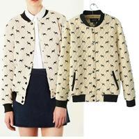 European & American 2014 Autumn Winter new casual jackets women big puppy bull dog Printed quilted zipper jacket women coat