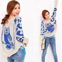 New 2014 women spring batwing sleeve Openwork cartoon owl pullover sweater thin coat LW52807