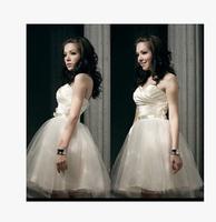 New 2014 sexy sweet cute boob tube top bridesmaid dresses,champagne color zipper/bandage dress,S/M/L/XL,vestido de festa,Hotting
