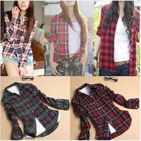 Spring Fashion 13 Colors Womens Tops Casual Blouse Turndown Collar Long Sleeve Plaids Print Pattern Flannel Shirt WBS006