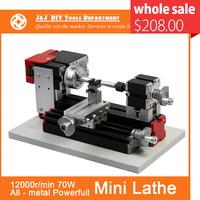 Powerfull Mini Metal Lathe Machine with 12000r/min, 70W  Motor and  Larger Processing Radius,DIY Tools as Chrildren's Gift.