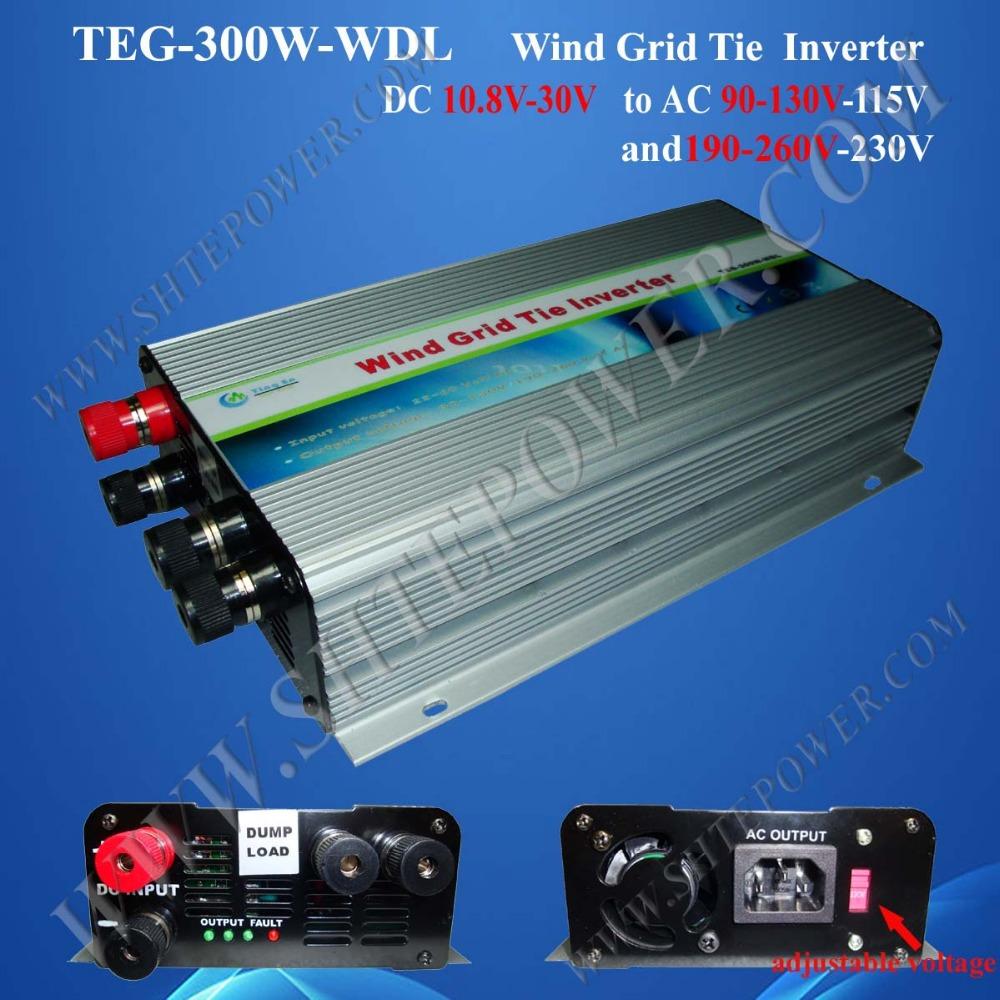 wind generator 300w dc 10.8-30v to ac 110v/220v power inverter on grid tie(China (Mainland))