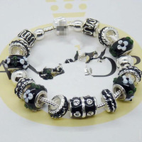 new item 2014 black flower 925 sliver plated murano glass beaded bracelets & bangles for women european style jewelry PA038