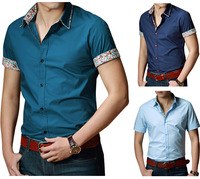K64 New Men's Stylish Short Sleeve Casual Slim Fit Shirts 4 Color US Size XS-XL