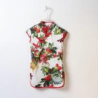 Wholesale 2014 New HOT Summer children clothing,2-8yrs baby girl princes clothes,print strawberry cheongsam,elegant floral dress