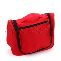 Red Portable Oxford Bag With Zipper For Toiletry Travel Outdoor Cosmetic