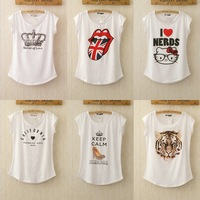 Free shipping 2014 New Fashion Punk Women T Shirt Brand Letters Printed T-shirts Summer Short Sleeve tops white tees GZC-1-19