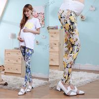 2014 new fashion  Korea elastic   floral print  abdomen protection maternity pregnant women belly pants jeans trousers