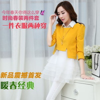 Spring 2014 fashion chiffon dress long-sleeve women's small fresh one-piece dress twinset slim