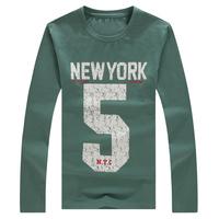 1309-t147-35 male autumn print o-neck long-sleeve basic T-shirt 2014 autumn men's plus size clothing