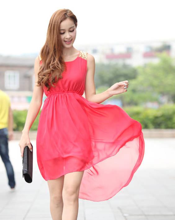 Lady Summer Chiffon dresses New CHIC 2014 Paillette Shoulder Slim Waist Irregular Sleeveless Tank Vest Dress W3286(China (Mainland))