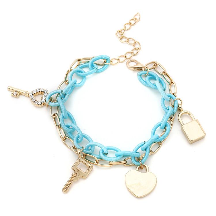 100% High Quality 2014 New Bracelets Chain Key Lock Charm Jewelry Women Alloy Promotion Bracelets & Bangles(China (Mainland))