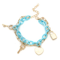 100% High Quality 2014 New Bracelets Chain Key Lock Charm Jewelry Women Alloy Promotion Bracelets & Bangles