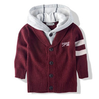 wd22 retail 1pc sell new 2014 red color kids boys sweater 2-10 age children cardigan hooded jacket free shipping wd22
