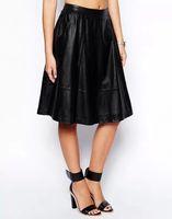 New Popular Hot PU Leather Women Quality Pleated Skirts Elastic Waist Black 14072309