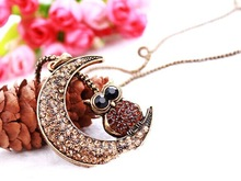 Cristal moon owl long necklace maxi/vintage boho chic fine costume jewelry/kolye/gargantilha/collier/accessories for woman/buho