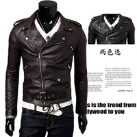 mens fashion conscripts motorcycle leather clothing outerwear bodycon leather jacket coat