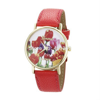 2014 New Fashion PU Leather GENEVA Women Dress Watch for Ladies Casual Watches Pattern Rose Flower Watch