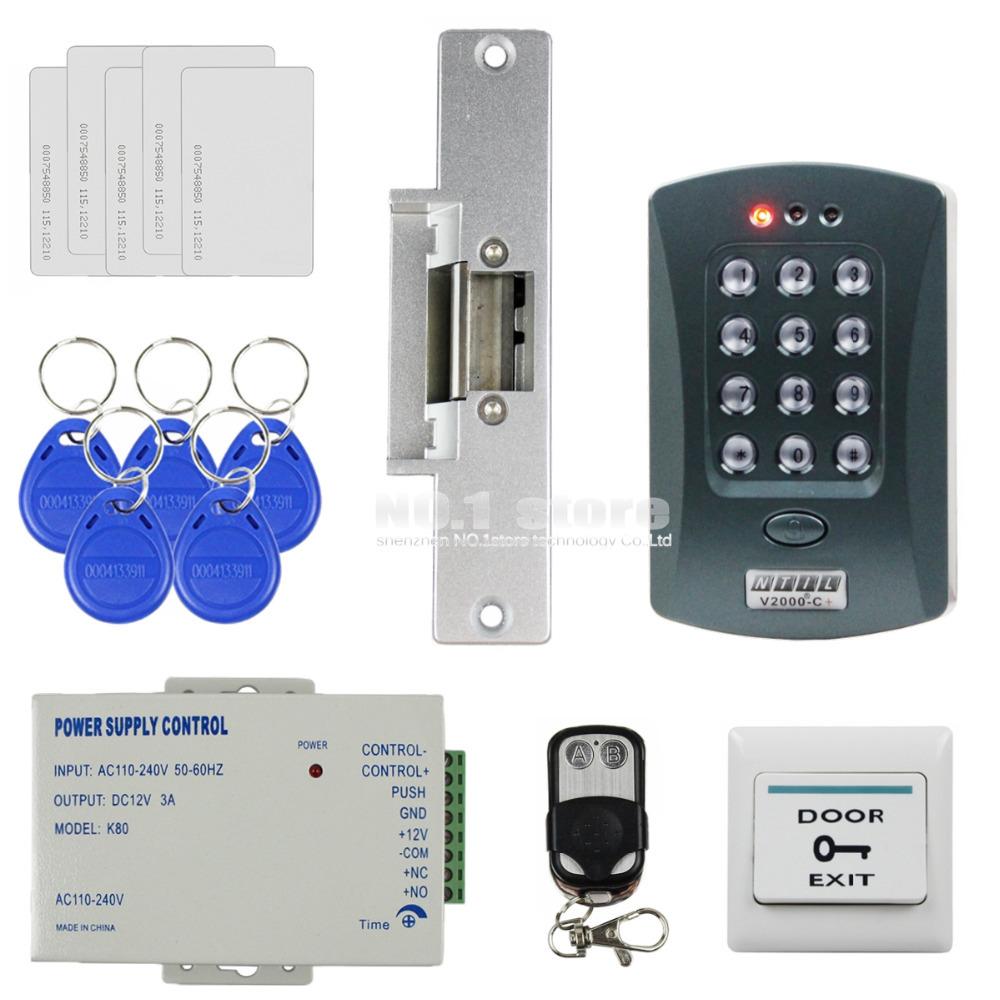 Remote Control Strike Lock 125KHz RFID Keypad ID Card Reader Access Control System Security Kit V2000-C(China (Mainland))