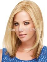 Latest Elegant Straight Medium length Blonde Synthetic Hair wig free shipping