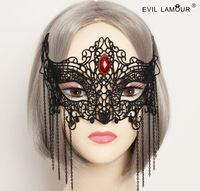 2014 New big red stone fashion jewelry black lace fox mask vintage party masks women sexy jewelry with tassel 079