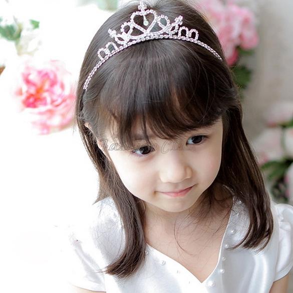 Big Promotion Lovely Cute Girls Rhinestone Princess Crown Headband Tiara Hair Accessories Band Sticks Silver Free Shipping A768(China (Mainland))