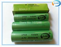 Free shipping 2pcs/lot 2600mah 18650 battery us18650vtc5 battery for e-cigarette