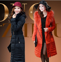2014 New Women's Winter Big Fur Collar Long Overcoat, Long Section Down Ladies Jacket, Fashion Hooded Females Knee Warm Coat