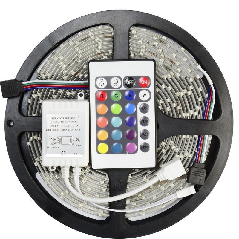 60 led strip SMD 3528 RGB 5M 300 LED light IP65 Waterproof +24 Key IR Remote christmas light rope light(China (Mainland))