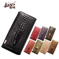Fashion Women Genuine Leather 3D Crocodile Long  Wallets For Women Ladies Purse Hand Clutch Cell Phone Money Bag 8 Colors
