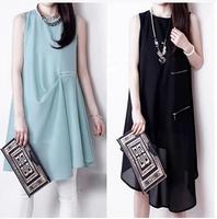2014 summer new European  was thin irregular sleeveless chiffon dress a skirt  NZ419