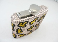 2014 Hot Free shipping(10pcs/lot) wholesale Fashion Golden leopard 6oz stainless steel diamante hip flask