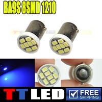 100X Car Auto LED BA9S T4W H6W LED 8SMD 1206 3020 LED 6523 1895 Wedge LED Light Bulb Lamp white/red/blue/green/yellow 12V #TG13