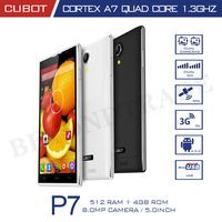 Original Cubot P7 MTK MT6582M Quad Core Smartphone Android 512MB RAM 4GB ROM 5.0 Inch IPS HD Screen 8MP Camera CellPhone