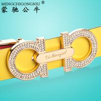 Double faced women's genuine leather strap female casual all-match fashion genuine leather belt diamond waist belt female